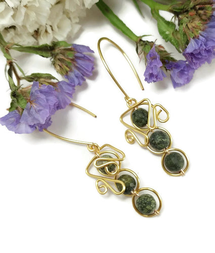 Serpentine Stone earrings, Russian Serpentine gold earrings