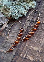 antique brass wire wrapped natural amber drop earrings nature inspired jewelry