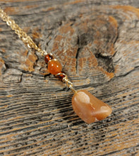michigan beach stone gold necklace, red agate beaded chain necklace