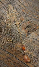 beach themed necklace, red agate amber beaded 24k gold necklace
