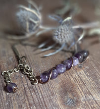 purple amethyst stone bracelet antique brass chain bracelet with extender attached