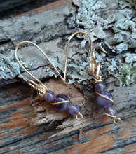 natural amethyst stone drop wire wrapped gold earrings jujus nature jewelry