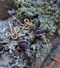 24k gold amethyst freestyle drop earrings nature design