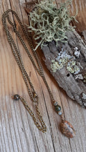 y style delicate chain necklace MI beach stone antique brass nature inspired jewelry