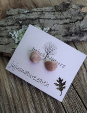 great lakes beach stone stud earrings, silver rock studs, lake michigan polished stone jewelry