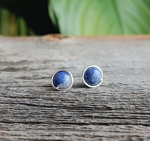 sodalite stone studs blue sterling silver earrings