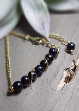 black agate stone chain bracelet gold chain jewelry