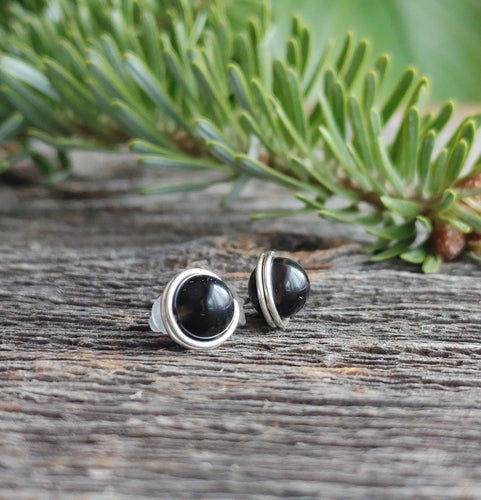 black obsidian stone stud earrings