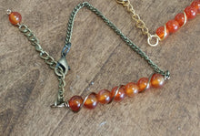 natural carnelian beaded stone bracelet, antique brass chain bracelet, nature made
