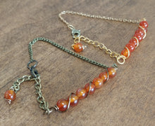 michigan made chain bracelet, 6mm wire wrapped carnelian stone