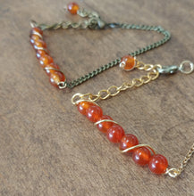 singers stone carnelian stone bracelet, gold chain nature inspired jewelry
