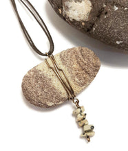 wearable essential oil diffuser sandstone necklace, dalmatian jasper beads