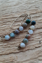 colorful earthy jasper earrings wire wrapped in antique brass