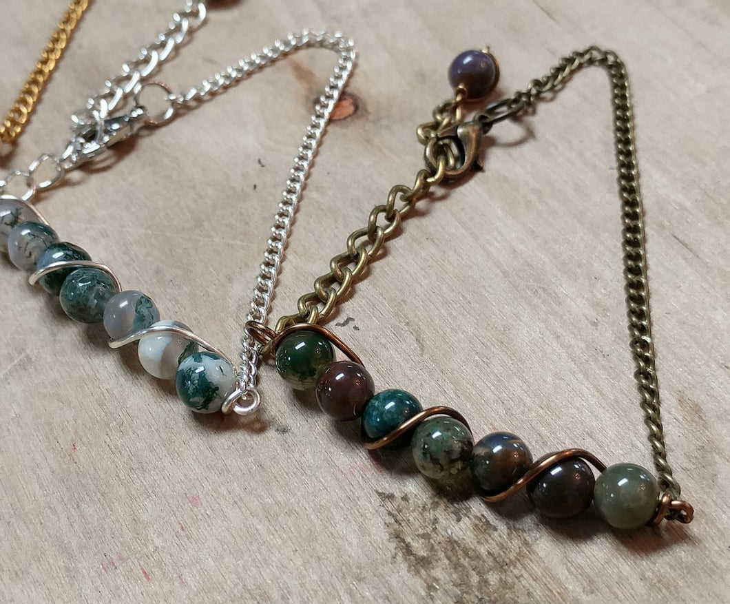 fancy jasper beaded nature bracelet, jujus nature chain bracelets, adjustable