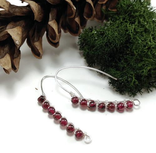 january birthstone garnet drop earrings, natural stone nature earrings, sterling silver