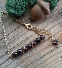 24k gold wire wrapped garnet bracelet birthstone january jewelry