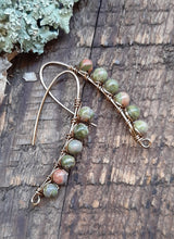 antique brass wire wrapped unakite stone earrings