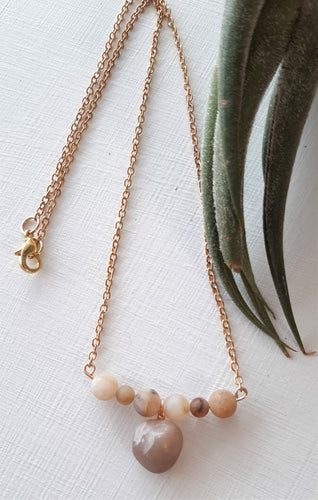 gold chain bar style beach stone necklace