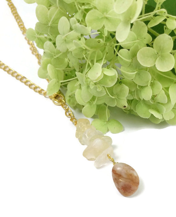 natural citrine beaded gold chain necklace, michigan beach stone lanyard necklace