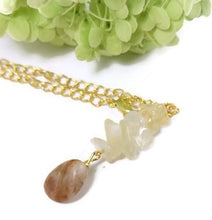 22 inch gold chain necklace, handmade beach stone necklace