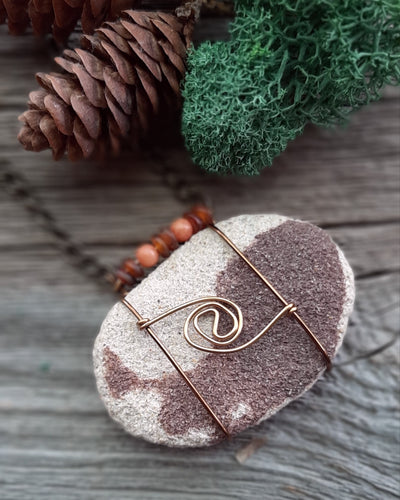 unisex essential oil diffuser stone necklace, lake superior sandstone necklace