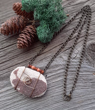lake superior sandstone oil diffuser necklace, red horn beaded stone jewelry