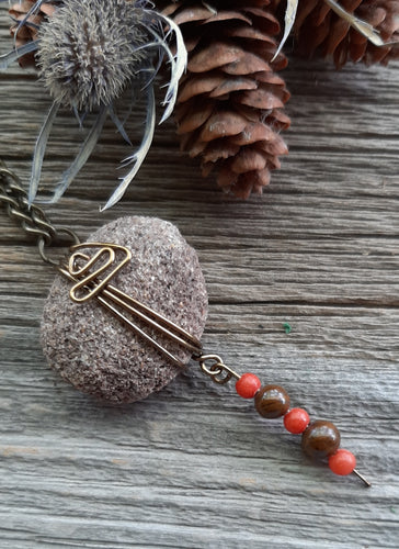 michigan sandstone oil diffuser necklace with red quartz and brown poppy jasper beads