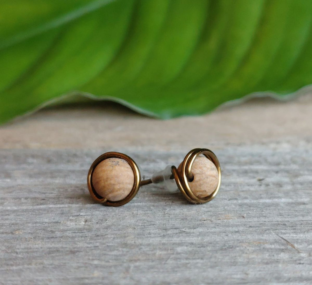picture-jasper-stud-earrings-antique-brass-wire