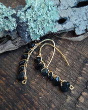 obsidian beaded gold drop earrings nature inspired design