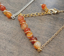 natural red agate stone bracelet, 24 k gold chain link bracelet, made made jewelry