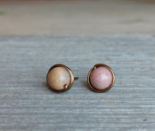Rhodonite-stud-earrings-antique-brass-wire