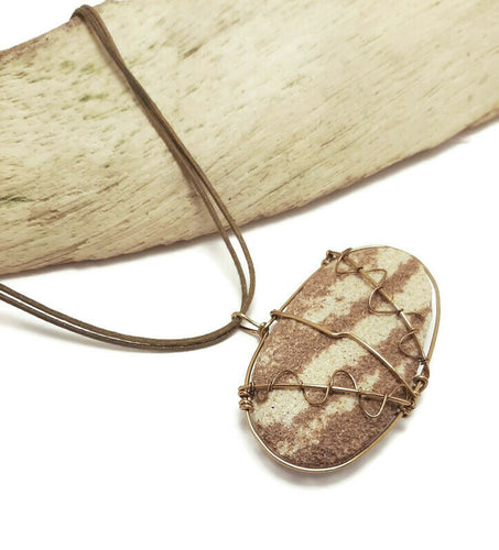 unisex essential oil diffuser necklace, sandstone wire wrapped