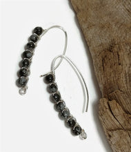 snowflake obsidian earrings, sterling silver drop earrings, wire wrapped earrings