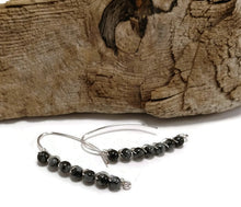 natural snowflake obsidian stone earrings, sterling silver wrapped drop earrings
