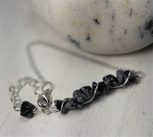 natural stone chain bracelet snowflake obsidian jewelry