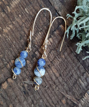 24k gold freestyle drop sodalite stone earrings nature inspired