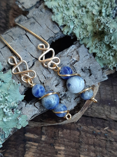 sodalite beaded 24k gold drop earrings jujus nature jewelry