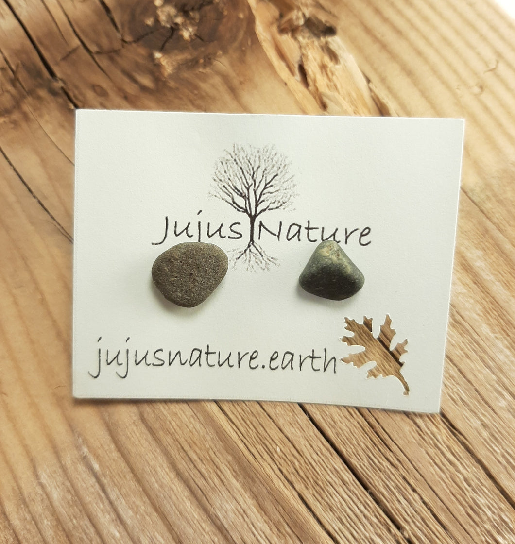 michigan green stone earrings beach studs