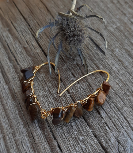 tiger eye drop earrings 24k gold wire