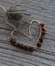 natural tiger eye courage earrings 24k gold wire wrapped