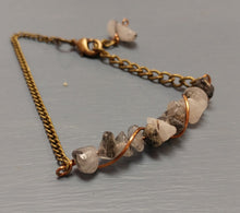 tourmaline quartz, antique brass chain bracelet, handcrafted in michigan