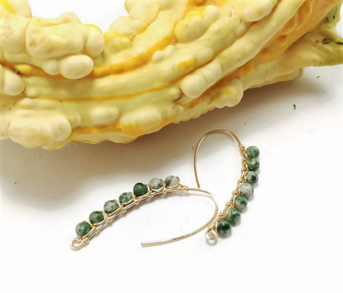 tree agate earrings, 24k gold drop earrings, made to order earrings