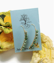 natural stone earrings, nature infused drop earrings, tree agate beads