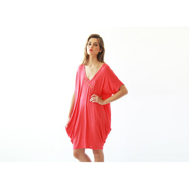 Oversize knitted coral tunic with pockets SALE 1006