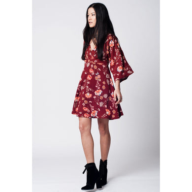 Maroon floral printed dress with bat sleeves