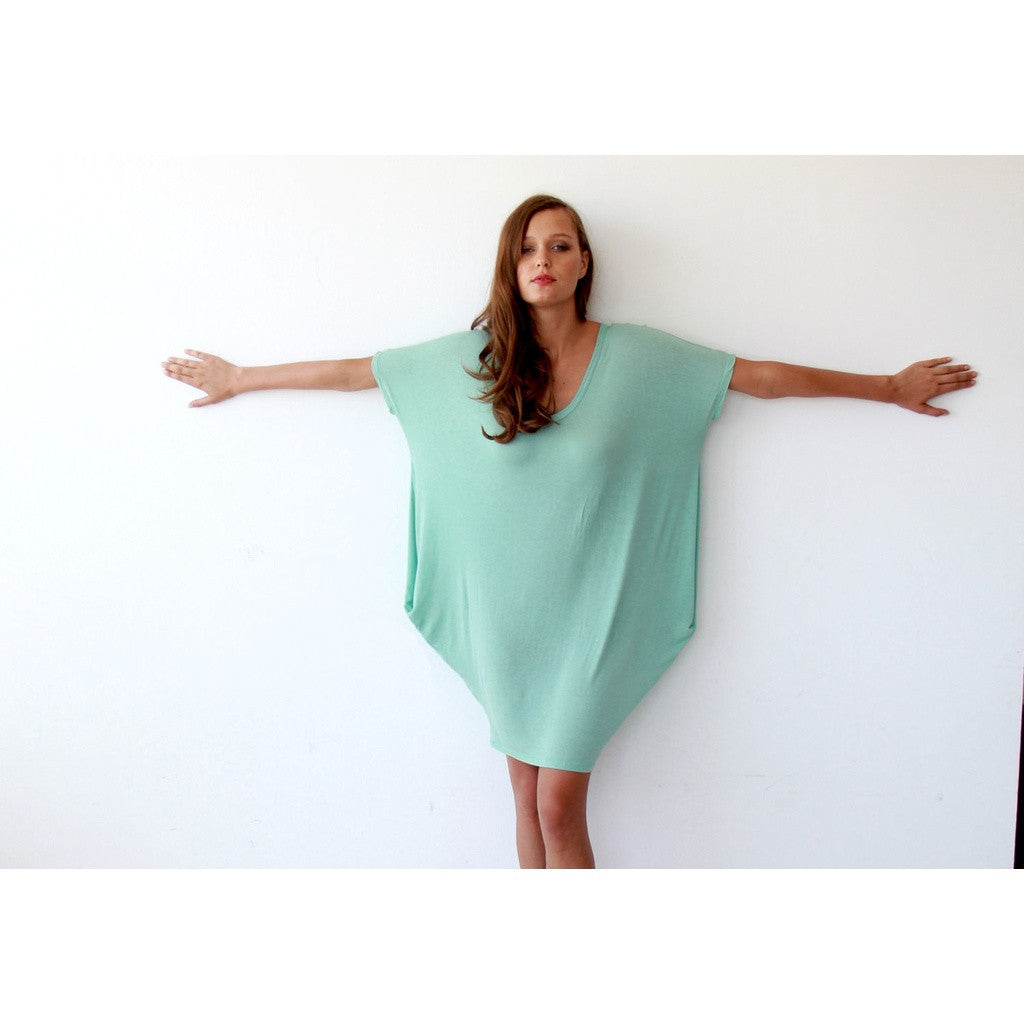 Oversize knitted mint tunic with pockets SALE 1005