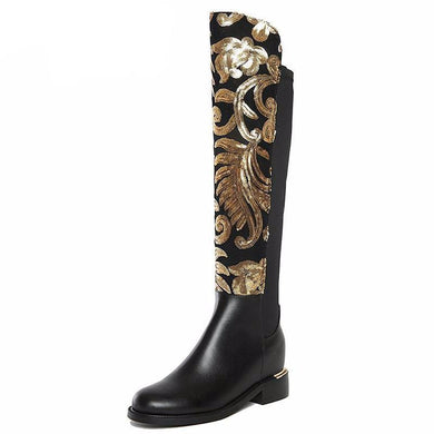 Sequin Adorned Leather Riding Boots