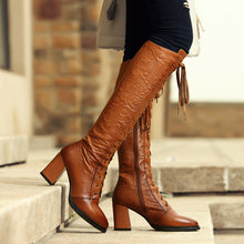 Leather Granny Lace Up Boots