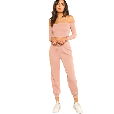 2 Piece Cold Shoulder Set Top and Drawstring Pants Set