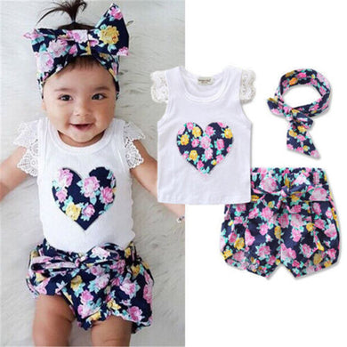 3 pc Toddler Set Blue or Red Floral